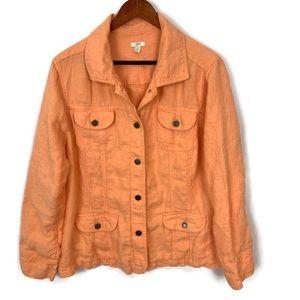 J. Jill 100% Linen Button Down Utility Jacket 2X